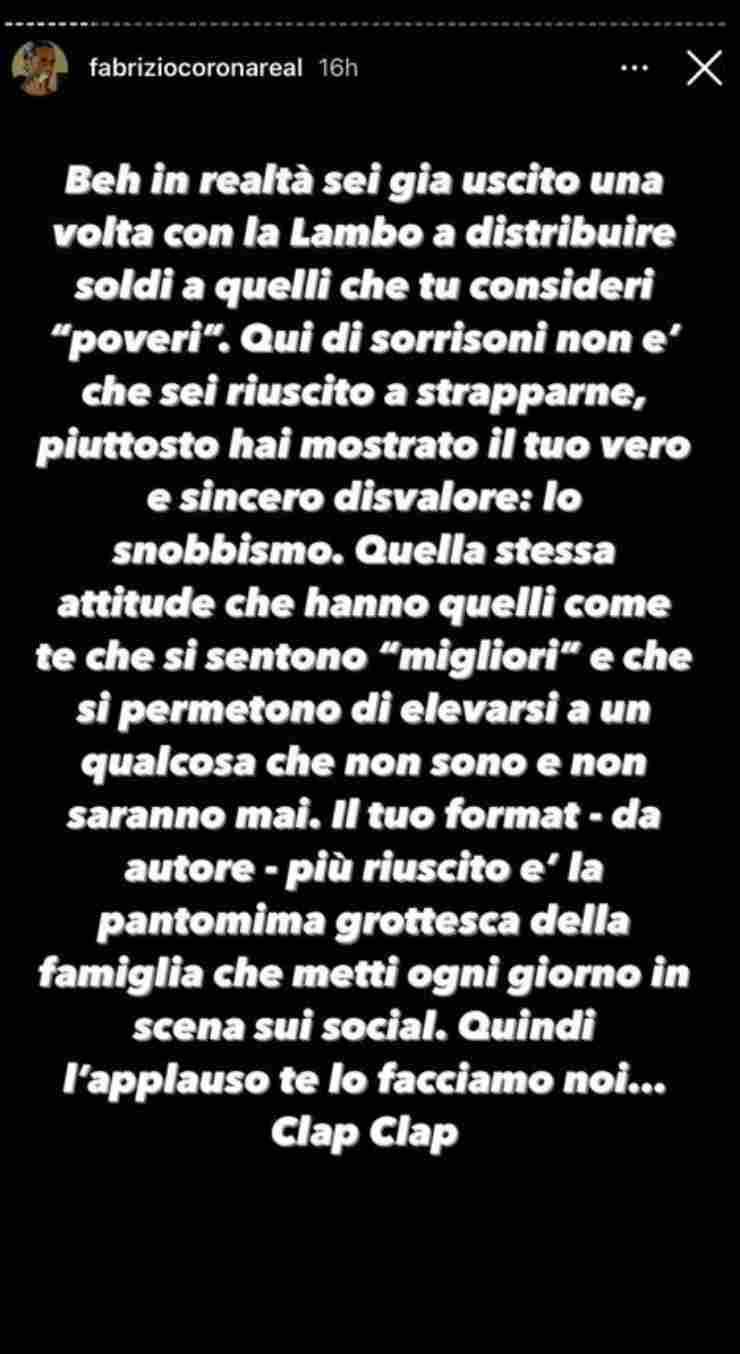 Fabrizio Corona contro cantante